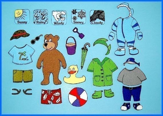 Mr. Weather Bear Dress Up - Felt Board Set / Felt Paper Dolls