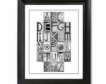 ABCs Alphabet Photo Collage Print (11x14) unframed - Nursery Art, Custom Children Decor, Alphabet Art
