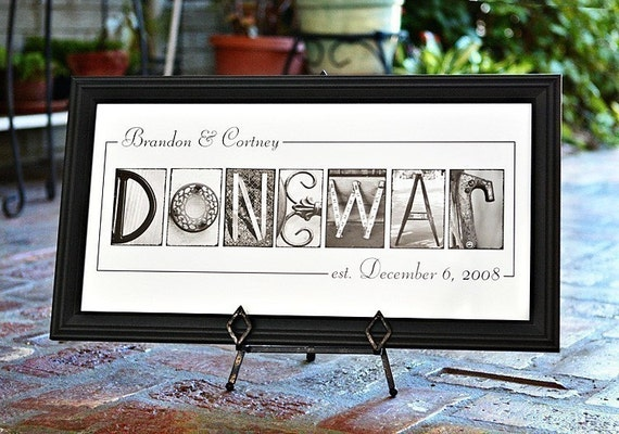 Personalized Name Frame Print (10x20) unframed - personalized wedding gift, wedding reception decoration, last name, personalized home decor
