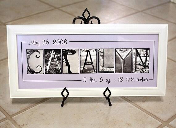 Personalized Baby Name Frame Print (10x20) unframed - Personalized Nursery Art, children decor, Birth Announcement, Alphabet Art