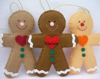 Gingerbread, Felt Christmas Ornament - Felt Gingerbread man - ONE ORNAMENT