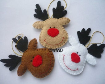 Personalized Reindeer Ornament - Rudolph the red nosed reindeer - felt Christmas ornament