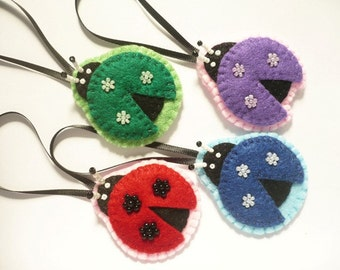 Ladybug ornaments  - felt ornaments -  handmade decorations