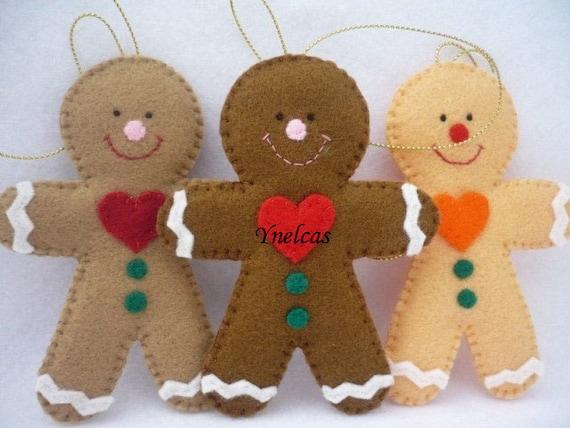 Gingerbread Felt Christmas Ornament Felt Gingerbread man