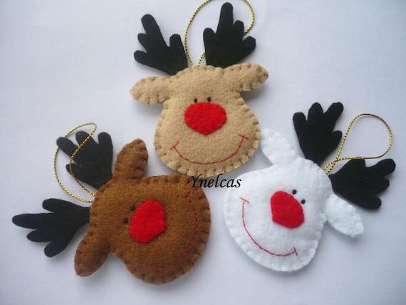 Rodolfo el reno de nariz roja adornos de navidad en fieltro - Renos de fieltro ...