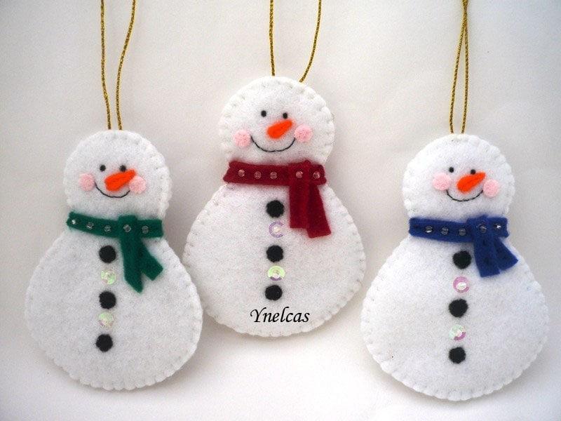 Snowman felt christmas ornament
