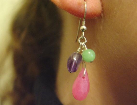 Jade, Amethyst, Aventurine Colorful Sterling Silver Earrings
