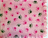 Fleece Blanket -- Pink Paws