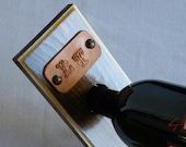 Balancing Wine Bottle Holder  PERSONALIZED Medium Brown