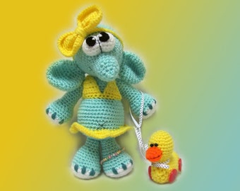 Crochet toy Amigurumi Pattern -The Little Elephant in a swimsuit and a toy duck.
