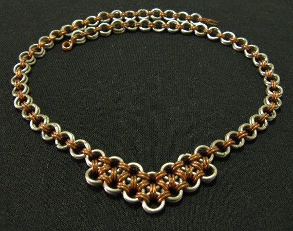 Aluminum and Copper Japanese Weave Necklace
