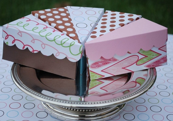Etsy Cake Favor Boxes : Items similar to paper cake slice favor boxes on etsy