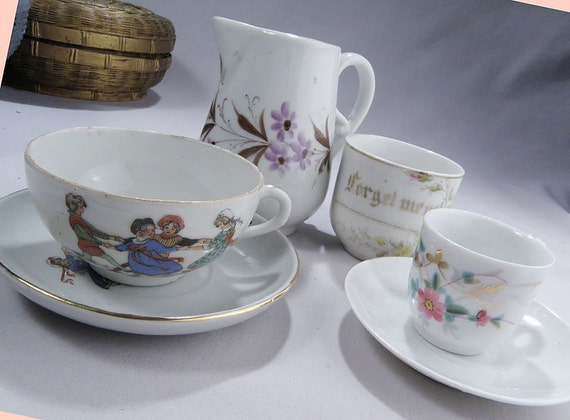 Forget Me Not Cup, Cream Pitcher, 2 Cups and Saucers, ALL Anitque