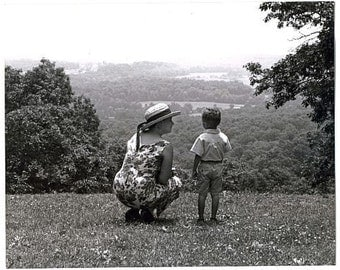 Mother and boy on a Blue Ridge Parkway overlook