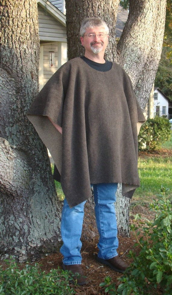 Dark Green with Taupe Sherpa Fleece Poncho in a Make My Day Clint Eastwood Style