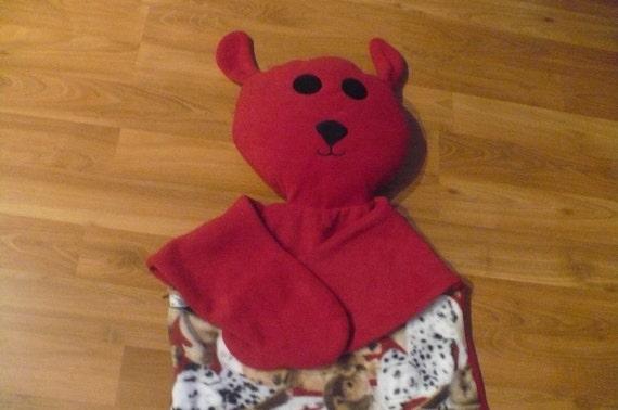 Kids sleeping bag- puppy prints fleece-for 3-7 years old children, dog shaped sleeping bag -birthday gift-