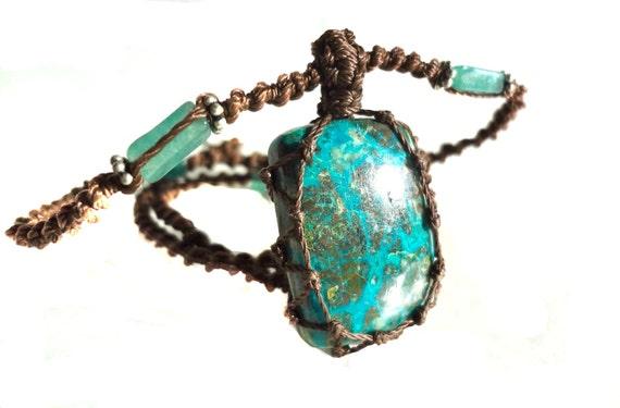 Organic turquoise macrame Necklace- Stone of Purification- shaman ethereal square pendant healing crystal