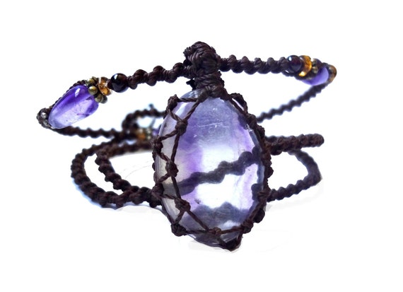 macrame purple FLUORITE organic necklace - Your Highly Protective Stone- om yoga bohemian ethereal hippie natural