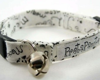 Cat Collar: Breakaway Cat Collar in Meow fabric