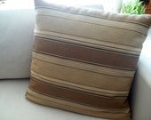 """Striped pillow cover - 20"""" tan, beige, brown, natural"""