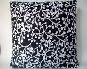 "Black and White Berry Print 16"" Pillow Cover"