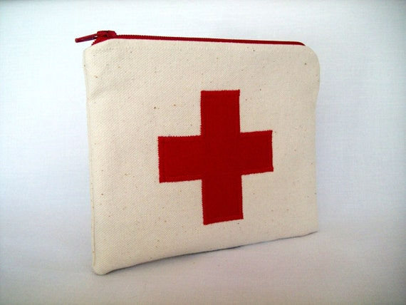 Red Cross Zip pouch - cotton duck cloth