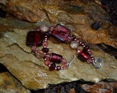 India Garnet Glass Beaded Bracelet