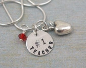 NUMBER 1 TEACHER.......Hand Stamped Sterling Silver Tag and Apple Charm Necklace