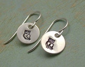 GIVE A HOOT.......... Hand Stamped Owl Sterling Silver Dangle Earrings