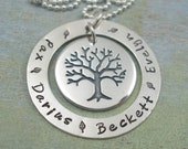 Mothers Necklace - Hand Stamped Jewelry - Personalized Washer Necklace - Family Tree - Custom Keepsakes by Tiny Tokens