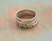 Ringlets - Hand Stamped Ring - Stacking Sterling Silver Band - Stackable Ring - Personalized Jewelry
