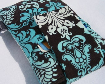 cell phone sleeve purse, iPhone 6/6s plus,HTC 10,LG G5,Moto G/X,Samsung Galaxy S6/S7/Note5,Nokia,or any smartphone bag - Aqua Ombre Damask