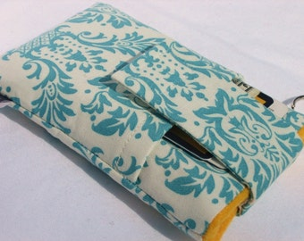 Sale-Fabric cell phone cover,iPhone 7,6,6s plus,Samsung Galaxy S7/S6 edge,Note 5,HTC 10,LG G5,other cell phone sleeve cover-Aqua Damask