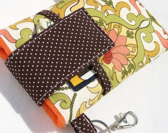 cell phone sleeve bag,iphone 7/6/6s plus,samsung Galaxy S6/s7/edge/note 5,HTC 10,LG G5,Moto X ,smart phone sleeve cover-Sage Peach Damask2