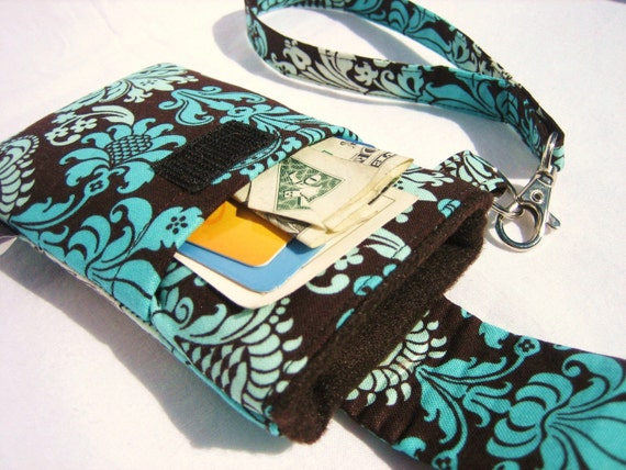 WRISTLET Case for Droid, iPhone, iPod iTouch with Flap Closure and POCKET -  Aqua Ombre Damask