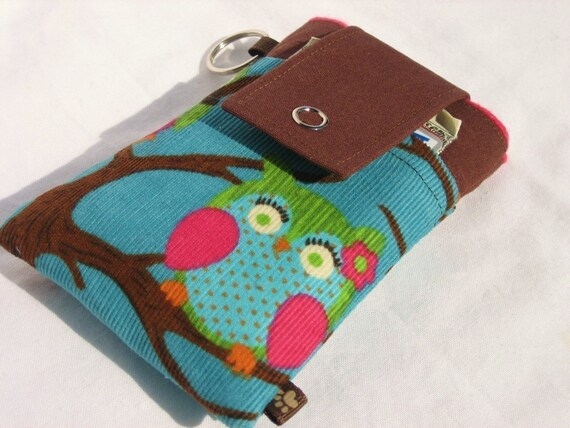 Droid iPhone iPod iTouch cellphone CASE Padded with Flap Closure and POCKETS - Night Owls