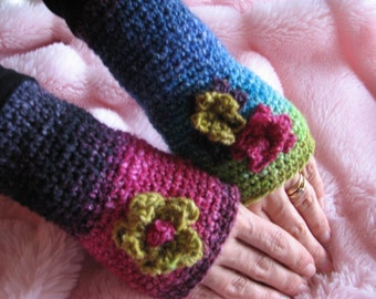 Rainbow Crocheted Fingerless Gloves with Flowers Pattern