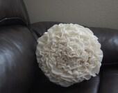 Ruffle Rosette Pillow (circular) in Cream Fleece/White Cotton