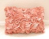 Lumbar Felt Ruffled Pillow in Coral 15x10