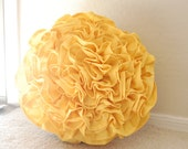 "Circular Rosette Pillow 14"" in Lemon Yellow Cotton"