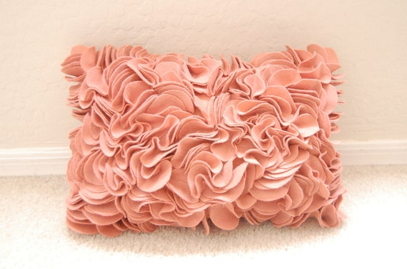 Lumbar Felt Ruffled Pillow in Coral 15x10