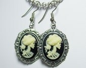 Antique Silver Ivory and Black Skeleton Maiden Cameo Gothic Lolita Earrings