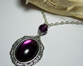 Antique Silver Genuine Vintage German Glass Purple Amethyst  Cabochon Neo Victorian Gothic Lolita Steampunk Pendant Necklace