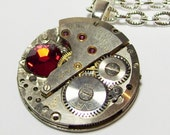 Antique Silver  Vintage Watch Movement Ruby Red Swarovski Crystal UNISEX Gothic Steampunk Necklace Pendant   (A55)