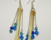 Gorgeous  Antique Silver Gothic Lolita Real COYOTE FOOT BONE Aqua Teal Cobalt Blue Swarovski Crystal  Long Earrings