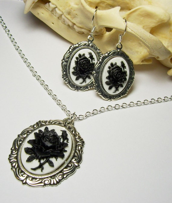 Antique Silver White and Black Rose Cameo Gothic Lolita Pendant Necklace and Earrings Set