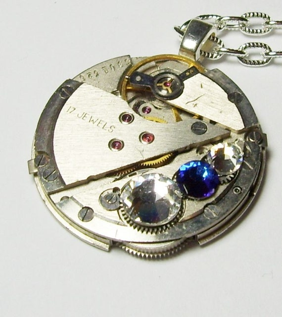 Antique Silver Vintage  17 Jewel  Watch Movement  Blue Swarovski Crystals UNISEX Gothic Steampunk Pendant Necklace (A40)