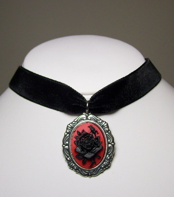 Antique Silver Red and Black Rose Flower Cameo Neo Victorian Gothic Steampunk Black Velvet Choker Pendant Necklace