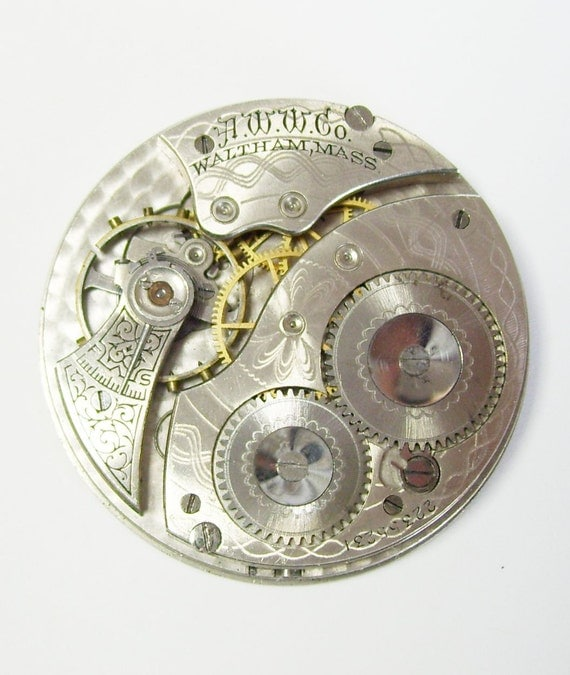 Antique Silver Vintage Waltham Pocket Watch Movement Circa 1918 Assemblage Art Supplies Parts