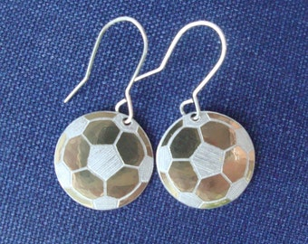 Petite Gold Aluminum Soccer Ball Earrings
